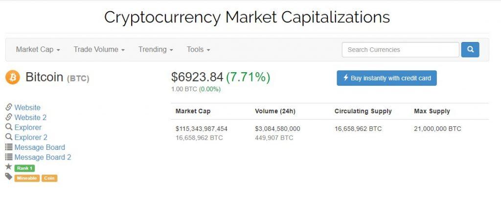 Курс биткоина пробил отметку в 6 900 $
