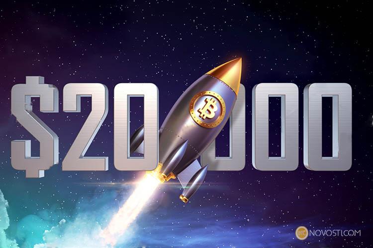 Цена биткоина поднялась до рекордной отметки в 20 000 долларов