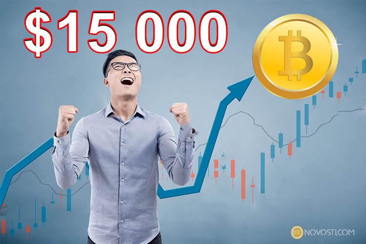 Цена биткоина превысила историческую отметку в $15 000