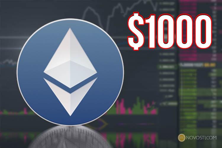 Цена Ethereum впервые достигла отметки в $1000