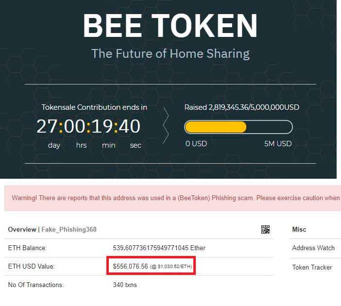Неизвестные запустили ICO от имени криптосервиса Bee Token и обманом привлекли около $1 млн