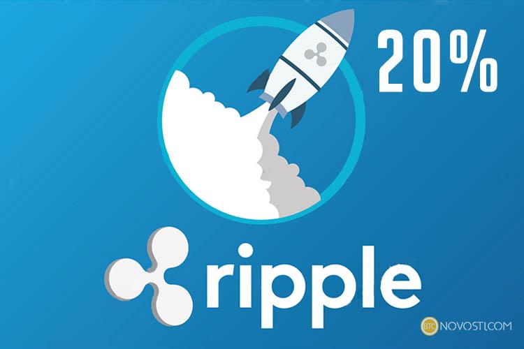 Цена криптовалюты Ripple за сутки выросла 20%